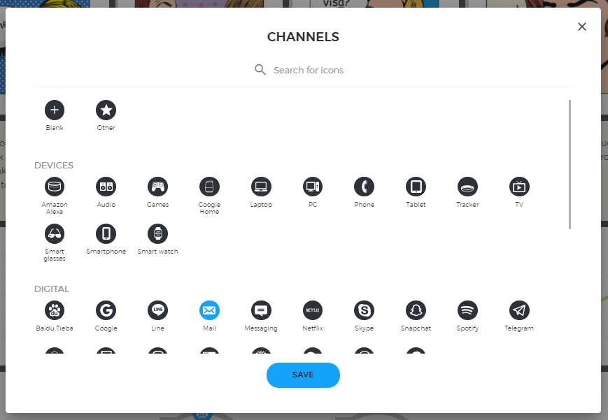 Icons for the channels section in UXPressia