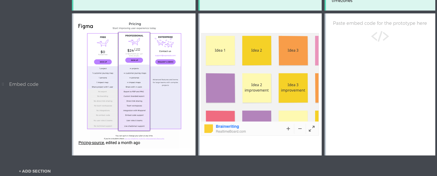 Embed code section in customer journey maps