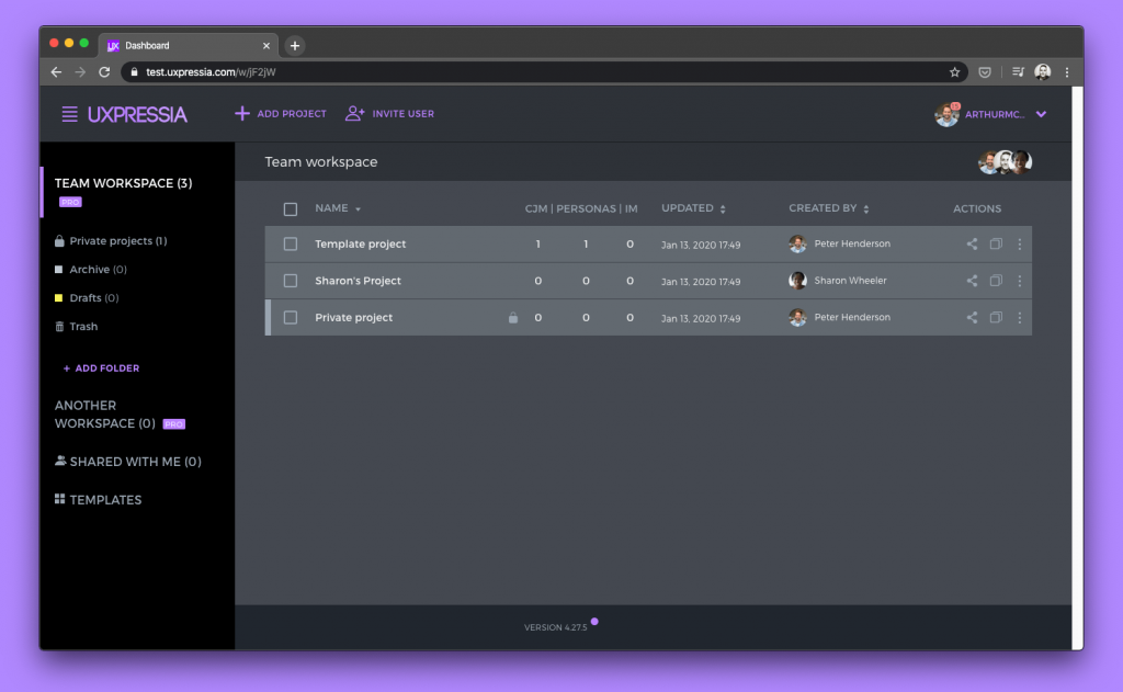 UXPressia new dashboard