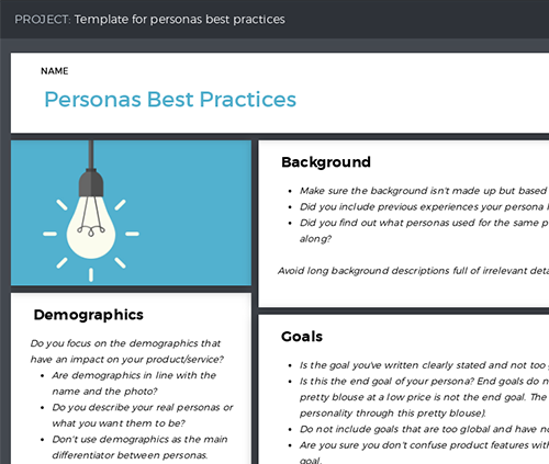 Template with best practices for creating customer personas